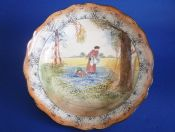 Large Royal Doulton 'Bluebell Gatherers' Leeds Fruit Bowl D3812 c1915